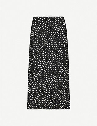 RAILS: London high-waist polka dot crepe midi skirt