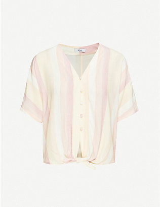 RAILS: Thea knotted striped woven shirt