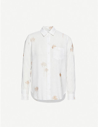 RAILS: Charli palm-embroidered linen-blend shirt