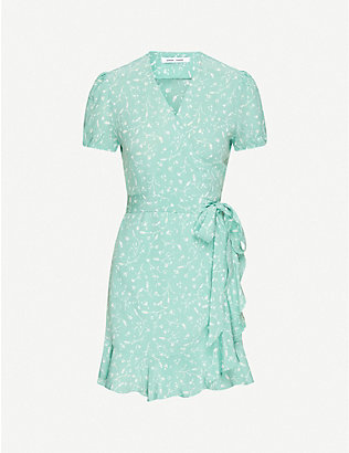 SAMSOE & SAMSOE: Linetta floral-print crepe mini dress