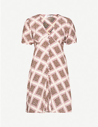 SAMSOE & SAMSOE: Petunia graphic-print crepe mini dress