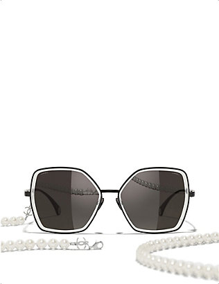 CHANEL: CH4262 butterfly-frame metal and faux-pearl sunglasses