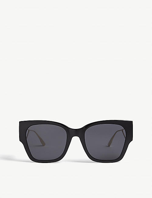 DIOR: 30Montaigne metal and acetate rectangle-frame sunglasses
