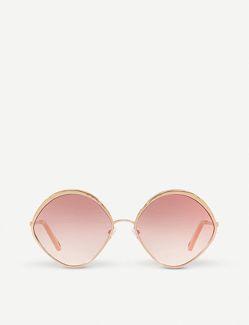 CHLOE: CE168S 60 Dani rose-gold and polycarbonate diamond-frame sunglasses
