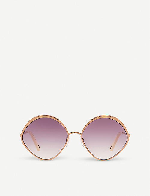 CHLOE: CE168S Dani rose-gold and polycarbonate diamond-frame sunglasses