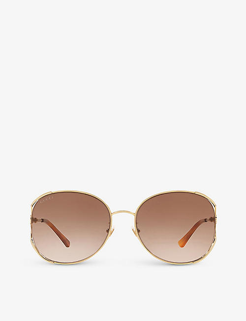 GUCCI: GG0650SK oval-frame metal sunglasses
