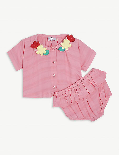RASPBERRY PLUM: Sunshine woven blouse and bloomers set 6-24 months