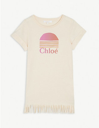 CHLOE: Logo-print cotton T-shirt dress 4-14 years