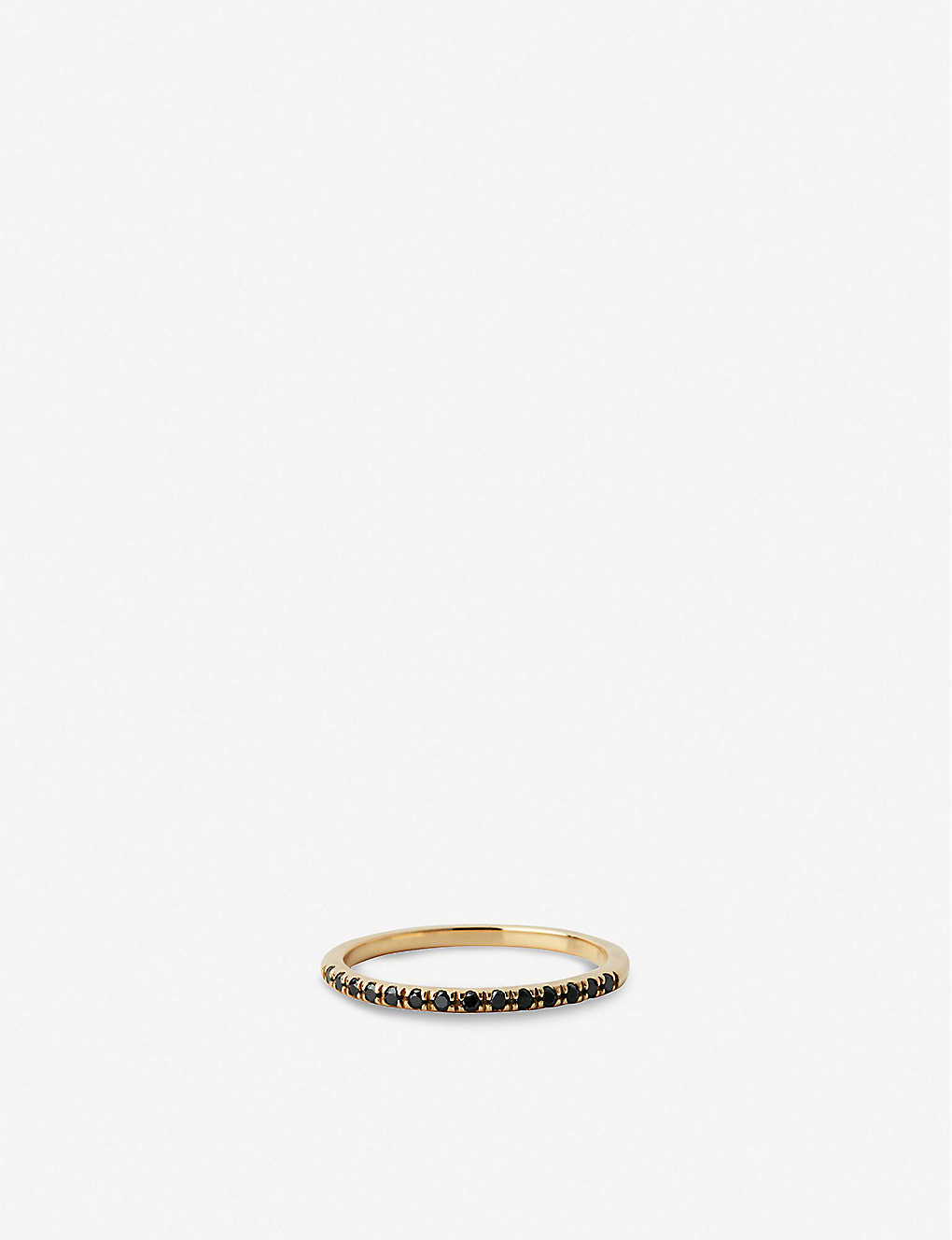 OTIUMBERG: Half Eternity 9ct yellow-gold and black diamond ring