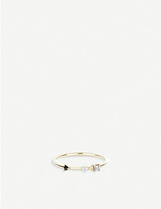OTIUMBERG: Three stone 9ct gold white topaz bamboo ring
