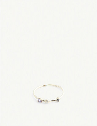 OTIUMBERG: Three stone 9ct gold diamond bamboo ring