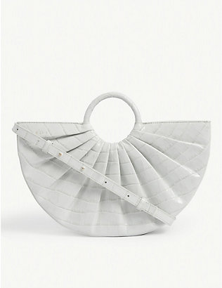 DLYP: Pleated Bender croc-embossed leather bag