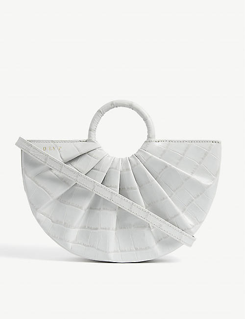 DLYP Pleated Bender croc-embossed leather cross-body bag