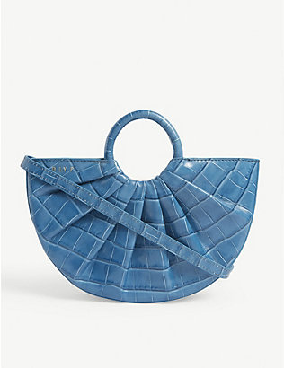DLYP: Pleated Bender croc-embossed leather cross-body bag