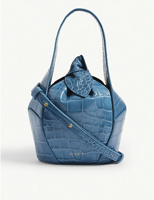 DLYP: Top knot croc-embossed leather tote