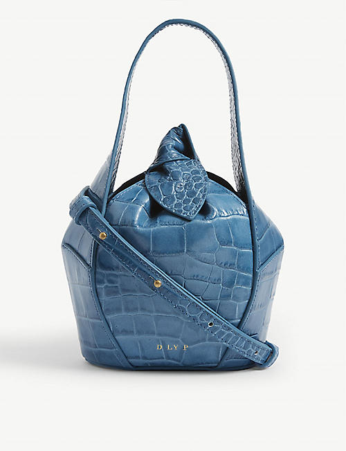 DLYP Top knot croc-embossed leather tote
