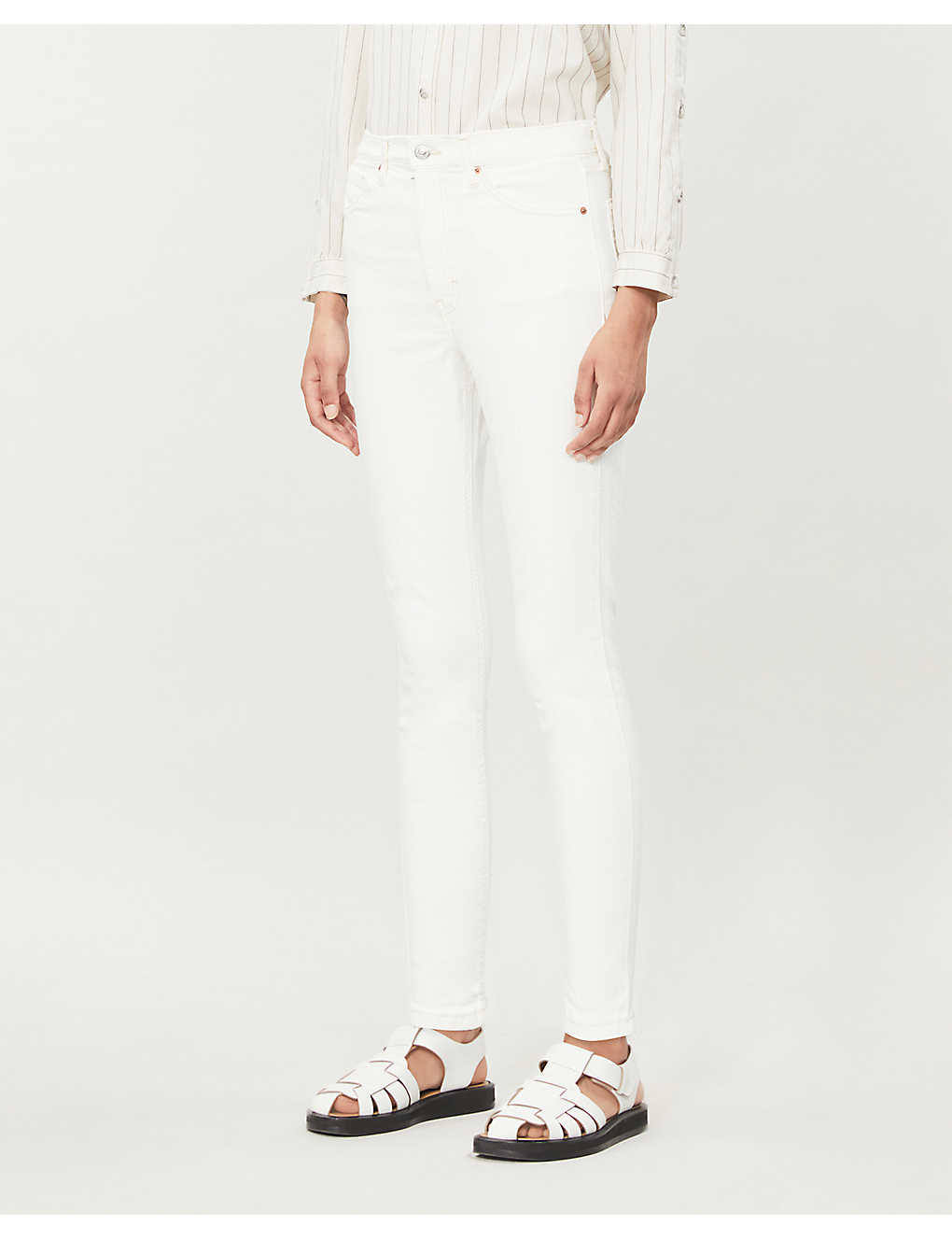 TOPSHOP: Cropped skinny high-rise cotton-blend jeans