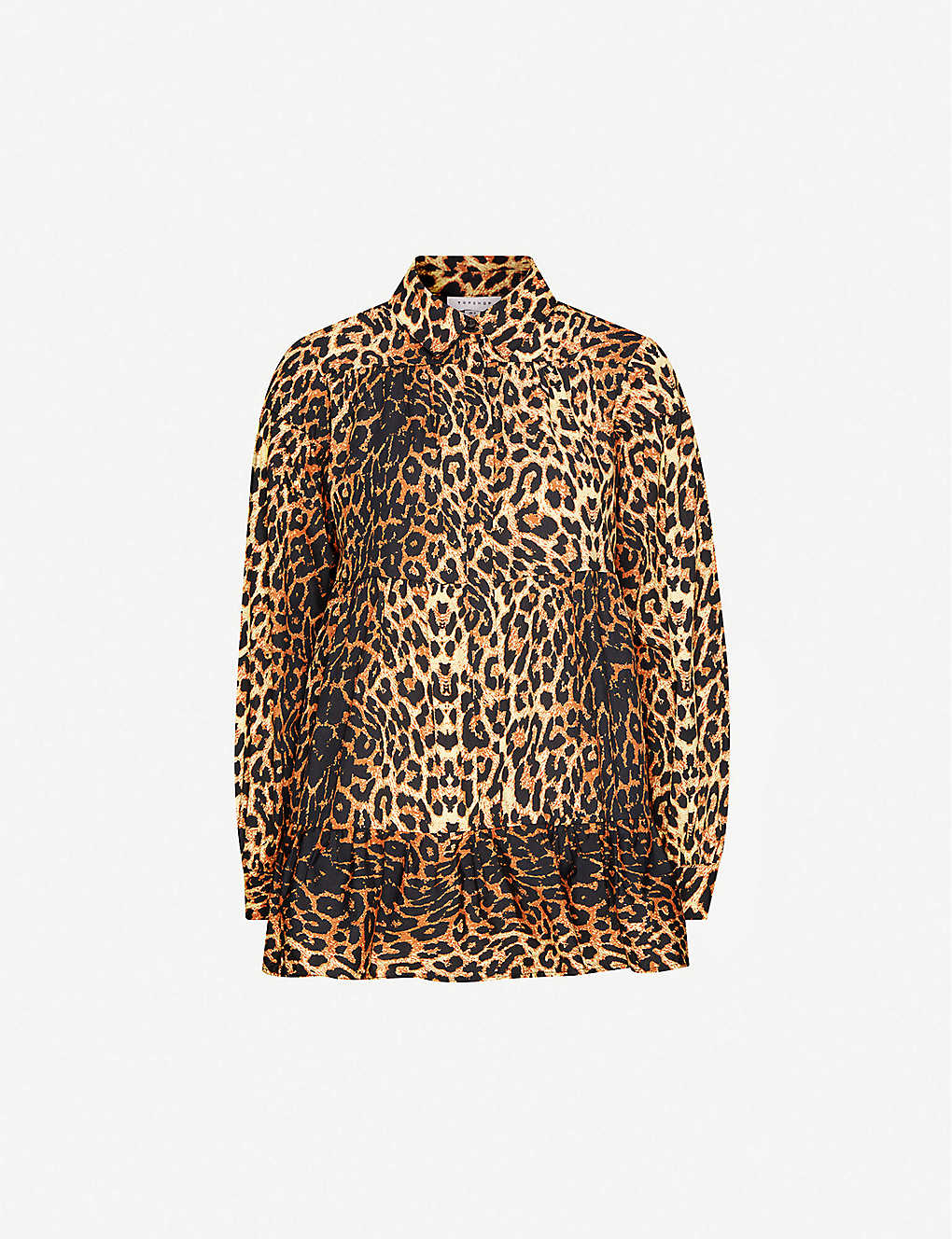 TOPSHOP: Shipwrecked leopard-print loose-fit cotton shirt