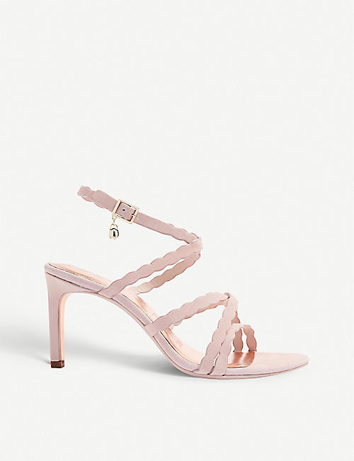 TED BAKER: Lillys scallop-strap suede heeled sandals