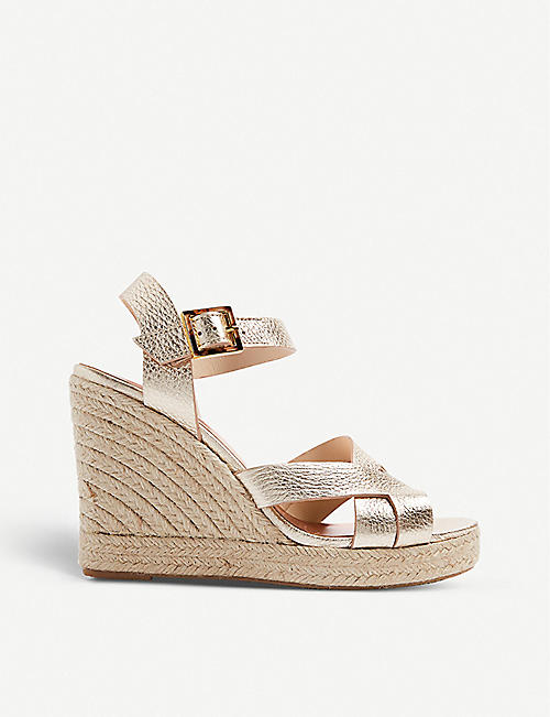 TED BAKER: Selanam metallic espadrille wedge sandals