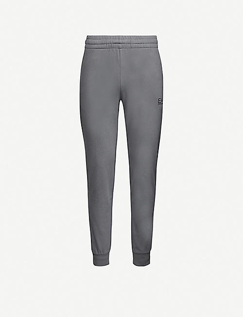 EA7 ARMANI Slim-fit tapered cotton-jersey jogging bottoms