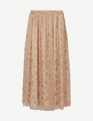 RED VALENTINO: Sequin-embellished tulle midi skirt