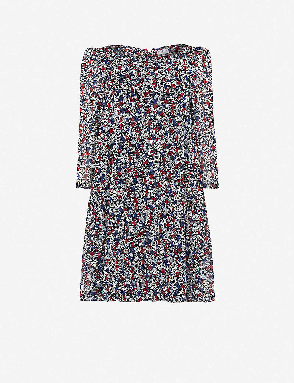CLAUDIE PIERLOT: Floral-print crepe mini dress