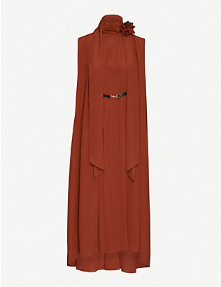 VICTORIA BECKHAM: Sleeveless pleated crepe midi dress