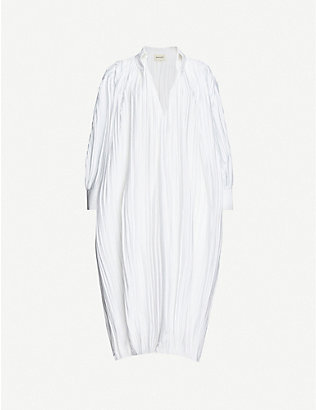 KHAITE: Ivette pleated cotton midi dress