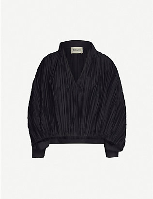 KHAITE: Malone balloon-sleeve pleated cotton shirt