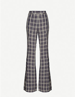 KHAITE: Stockard high-rise checked crepe flared trousers