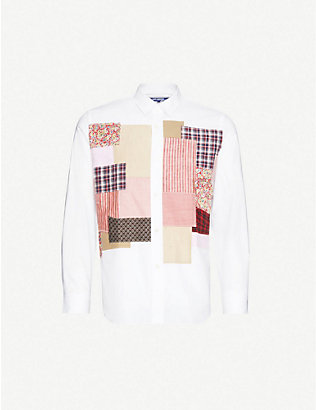 JUNYA WATANABE: Striped patchwork-appliqué cotton-twill shirt