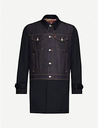 JUNYA WATANABE: Contrast-panel boxy-fit wool and denim coat