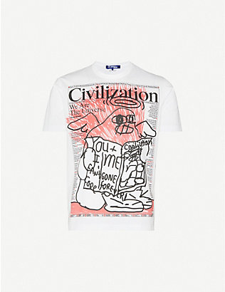 JUNYA WATANABE: Graphic-print cotton-jersey T-shirt