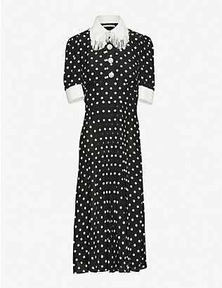 ALESSANDRA RICH: Fringed polka-dot silk crepe-de-chine midi dress