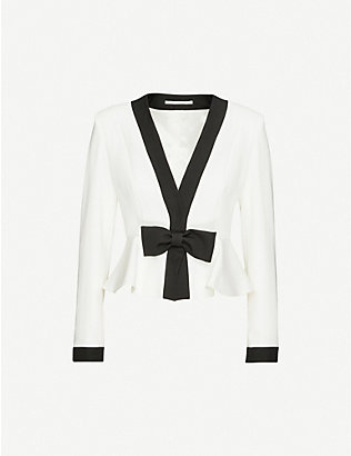 ALESSANDRA RICH: Bow-trim wool blazer