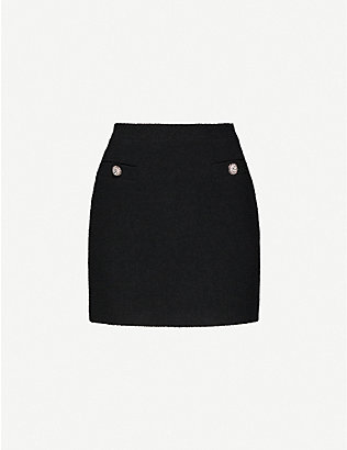 ALESSANDRA RICH: Embellished high-waist wool-blend tweed mini skirt