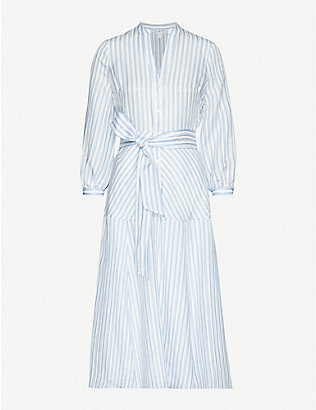 VERONICA BEARD: Jenna striped woven midi wrap dress