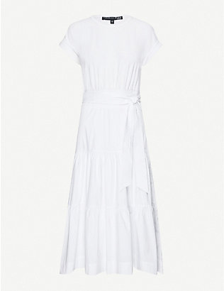 VERONICA BEARD: Tie-belt stretch-cotton midi dress
