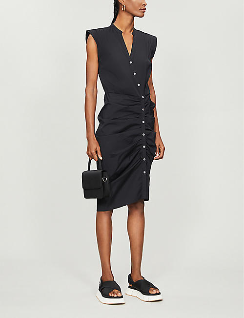 VERONICA BEARD Ruched stretch-cotton midi dress