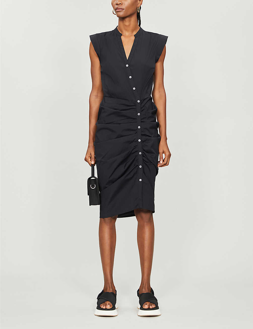 VERONICA BEARD: Ruched stretch-cotton midi dress