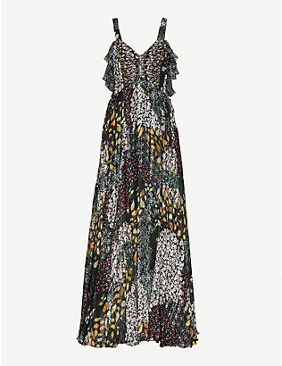 ETRO: Embroidered floral-print silk maxi dress