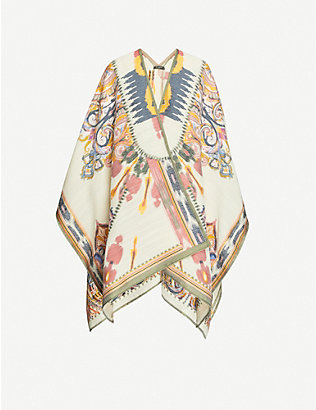 ETRO: Pattern-embroidered wool-blend cape