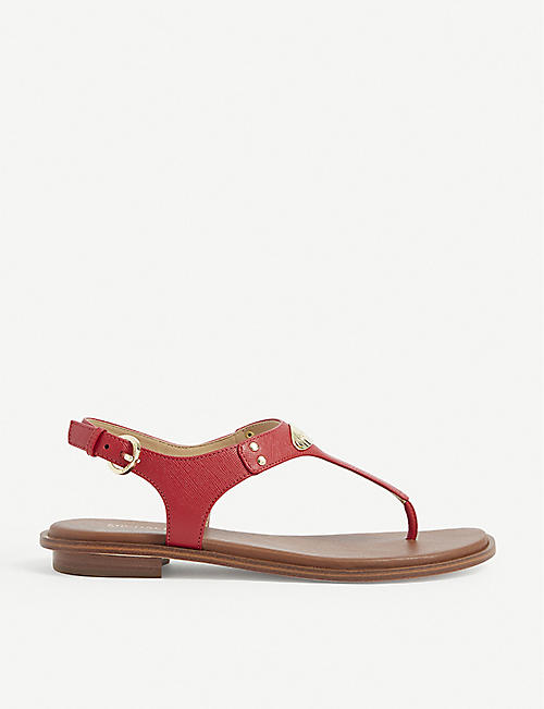 MICHAEL MICHAEL KORS: MK Plate textured leather sandals