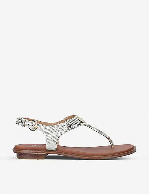 MICHAEL MICHAEL KORS: Plate leather thong sandals