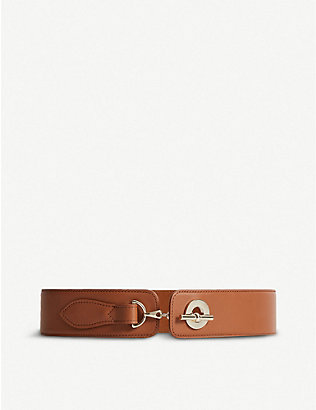 REISS: Brass-clasp leather belt