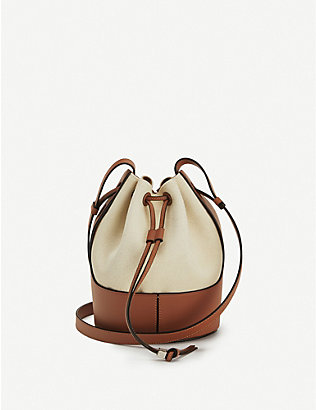 LOEWE: Balloon small leather and canvas shoulder bag