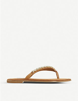 DUNE: Newbey diamanté-embellished leather flip-flops