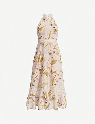 TED BAKER: Floxyy Cabana floral-print lace-trimmed cotton midi dress