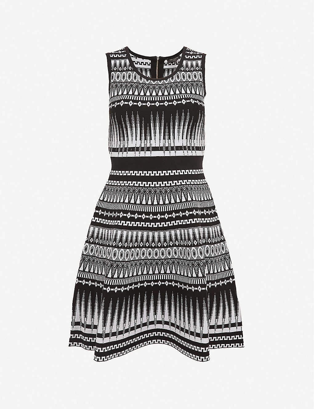 TED BAKER: Gilleyy geometric-print knitted mini dress